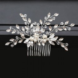6 Sprig Crystal Pearl and Silver Leaf Comb