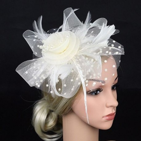 Tulle Flower and Feathers Fascinator