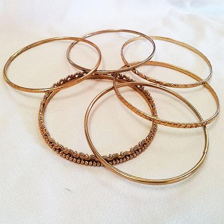 6-Bracelet Brass Bangle