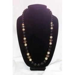 Black, silver & bronze-tone necklace