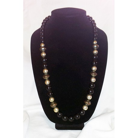 Black, silver & bronze-tone necklace