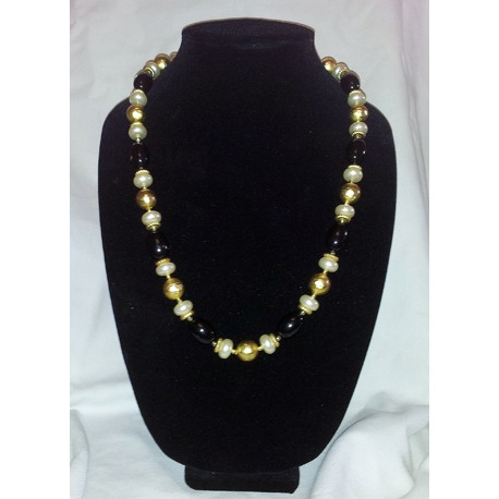 Black, pearl and gold foil necklace