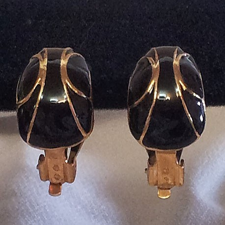 Black & Gold Cloisonné Earrings