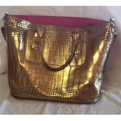 Golden Faux Alligator Overnight Bag
