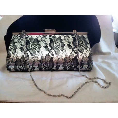 Black Lace Evening Clutch Purse
