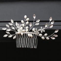 7 Sprig Crystal and Pearl Haircomb