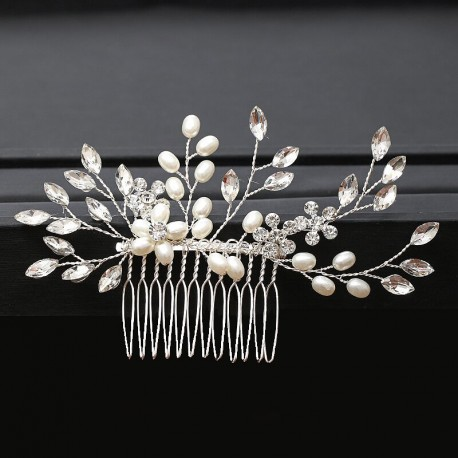7 Sprig Crystal and Pearl Haircomb