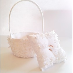 Daisy Flower Girl Basket with Ring Pillow